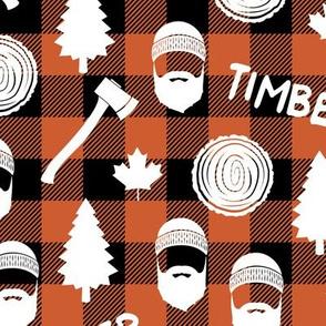 Lumberjack  - timber - Buffalo plaid - orange
