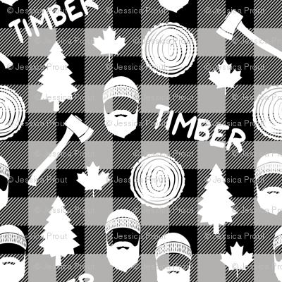(small scale) lumberjack - timber - buffalo plaid - grey