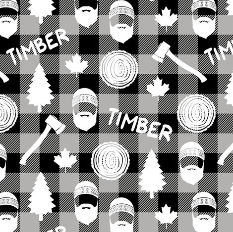 (small scale) lumberjack - timber - buffalo plaid - grey fabric by littlearrowdesign on Spoonflower - custom fabric