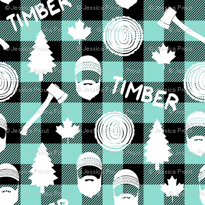(small scale) lumberjack - timber - buffalo plaid - dark aqua