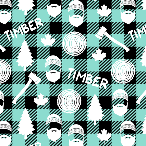 (small scale) lumberjack - timber - buffalo plaid - dark aqua fabric by littlearrowdesign on Spoonflower - custom fabric