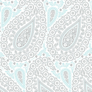 Perfect Paisley sky blue grey