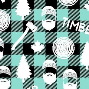 lumberjack - timber - buffalo plaid - dark aqua