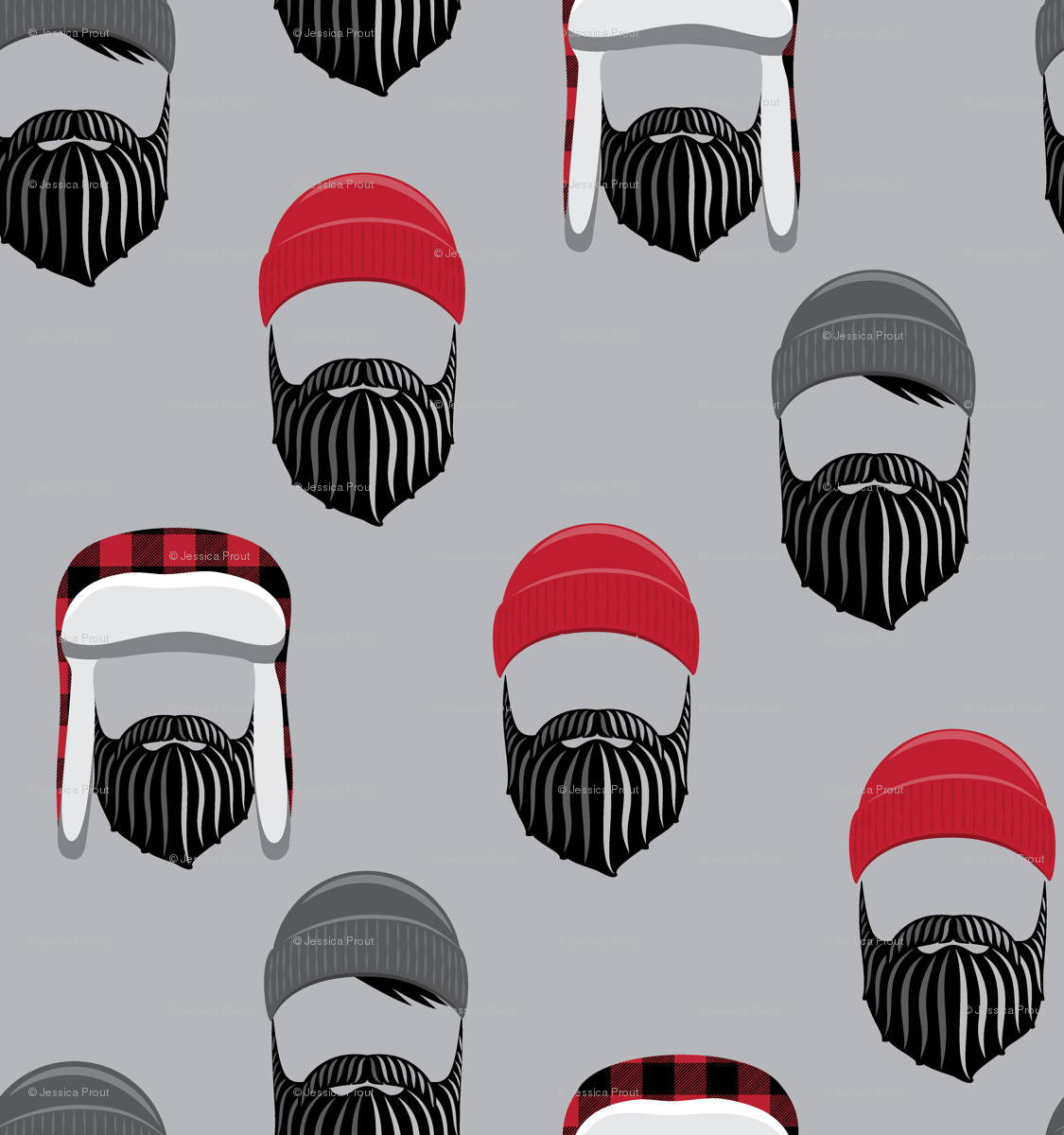 f7f0dab150b woodsman - lumberjack hat and beards - red on grey wallpaper -  littlearrowdesign - Spoonflower