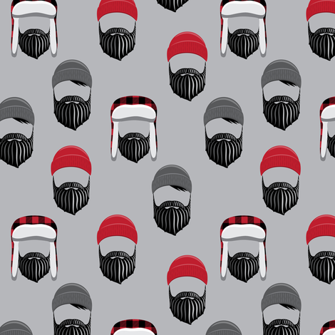 (small scale) woodsman - lumberjack hat and beards - red on grey fabric by littlearrowdesign on Spoonflower - custom fabric