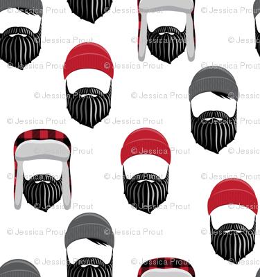 woodsman - lumberjack hat and beards -red