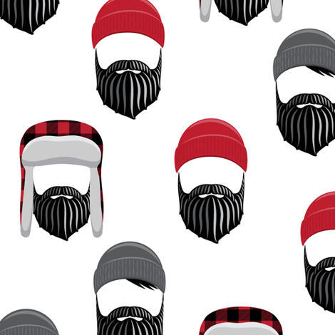 22e662ad0c7 woodsman - lumberjack hat and beards -red fabric by littlearrowdesign on  Spoonflower - custom fabric