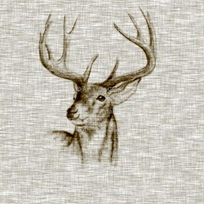 Bucks on Linen- bark