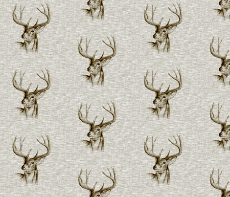 Bucks on Linen- bark fabric by sugarpinedesign on Spoonflower - custom fabric