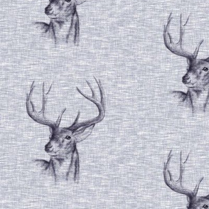 Bucks on Linen - navy