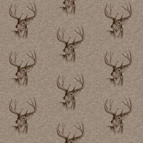 Bucks on Linen - mocha