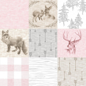 Woodland Quilt - Pink, Beige, Grey- Plaid, Fawn and Doe, Buck, Fox
