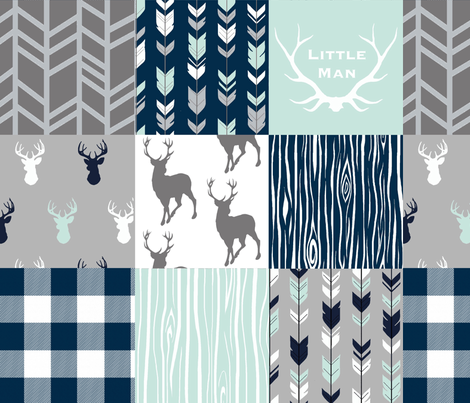 Little Man Patchwork Deer - white, navy, mint and grey fabric by sugarpinedesign on Spoonflower - custom fabric