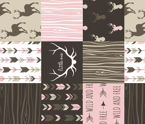Patchwork Deer - Cocoa and pink - rotated fabric by sugarpinedesign on Spoonflower - custom fabric