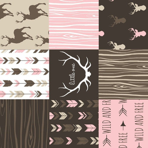 Patchwork Deer - Cocoa and pink - rotated