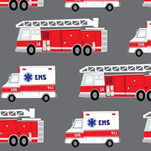 (large scale) first responders vechicles (grey) - ambulance and firetruck