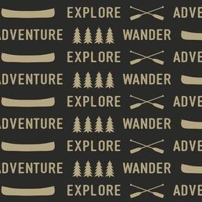 explore wander adventure (soft black & tan)