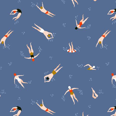 Cute swimmers fabric by alenkakarabanova on Spoonflower - custom fabric