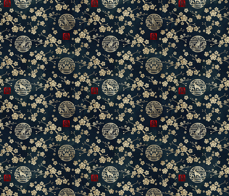 Chinese year of the dog in gold small fabric by adenaj on Spoonflower - custom fabric