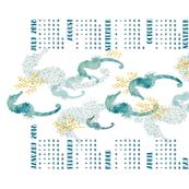 Pointillism Seahorse Tea Towel 2018