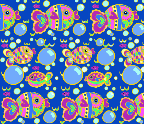 Swish Tail Fish Blue w/ Gold lines    fabric by franbail on Spoonflower - custom fabric