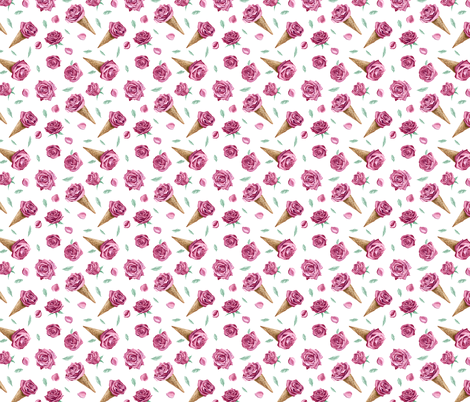 Roses and Icecream 1 fabric by volga_ilyina on Spoonflower - custom fabric
