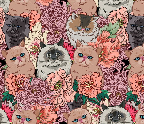 Because Cats fabric by huebucket on Spoonflower - custom fabric
