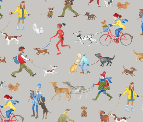 Winter Walkies  fabric by stitchyrichie on Spoonflower - custom fabric