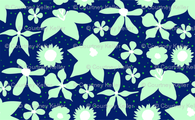 Mint & Navy Painted Floral