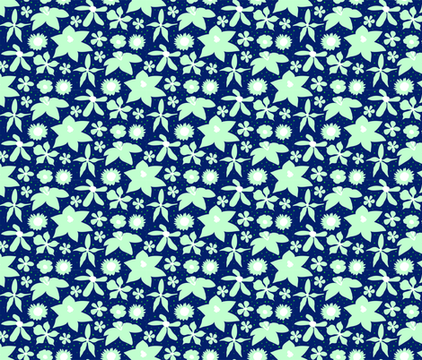 Mint & Navy Painted Floral fabric by onelittleprintshop on Spoonflower - custom fabric