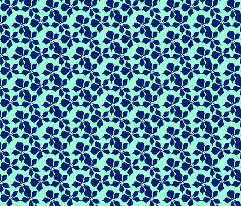 Mint & Navy Ditsy Painted Floral fabric by onelittleprintshop on Spoonflower - custom fabric