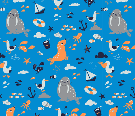 Seashore Life fabric by katelein on Spoonflower - custom fabric