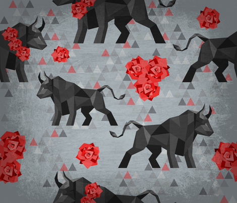 Fragmented Bulls and Roses fabric by kfrogb on Spoonflower - custom fabric