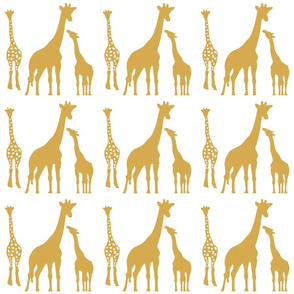 Giraffe Family in Gold