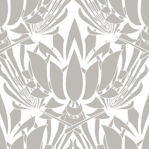 Beige neutral lotus flower elegant wallpaper and regal fabric
