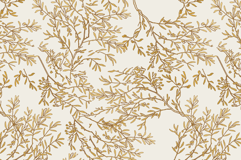 Gold branches on cream toile chinoiserie ivory wallpaper fabric by jenlats on Spoonflower - custom fabric