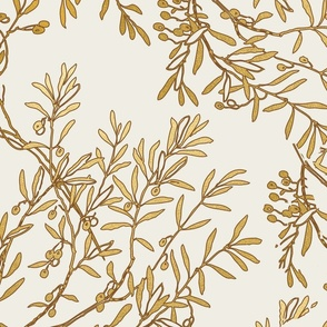 Gold branches on cream toile chinoiserie ivory wallpaper