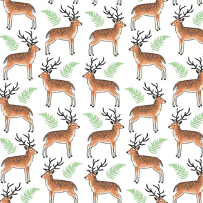 Rudolph and Friends - Holiday Deer & Fern Reindeer Christmas Textile
