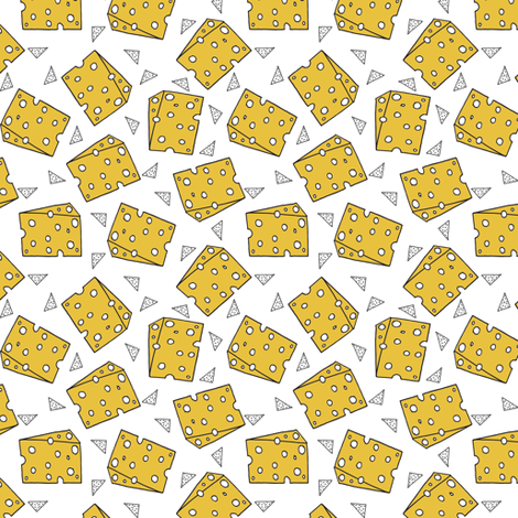 cheese fabric // novelty food fabric print for craft projects - smaller fabric by andrea_lauren on Spoonflower - custom fabric