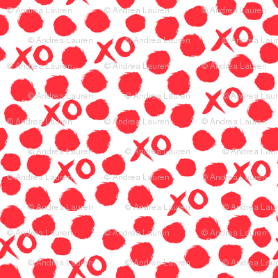 xoxo // red valentines heart love design for textiles and wallpaper - smaller