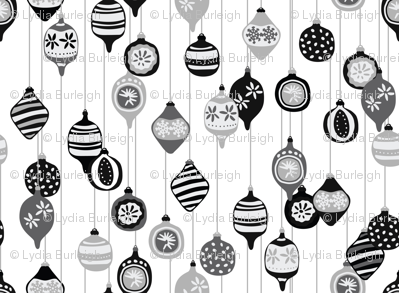 Vintage Christmas ornaments in black and white