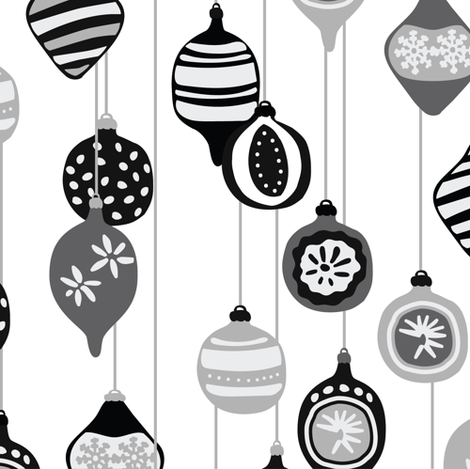 Vintage Christmas ornaments in black and white fabric by lburleighdesigns on Spoonflower - custom fabric