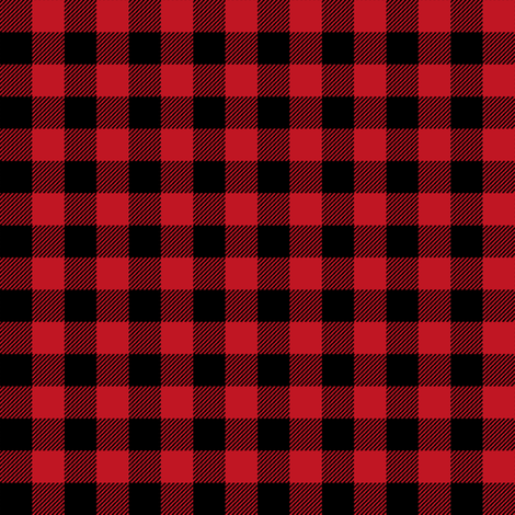 """buffalo plaid - red and black 1/2"""" fabric by charlottewinter on Spoonflower - custom fabric"""