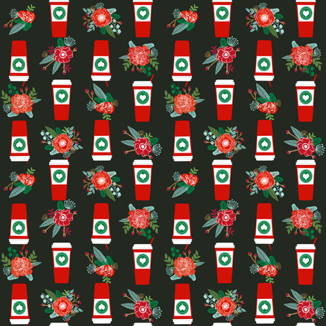 christmas coffees red cups flowers florals cute girls coffee fabric - multi directional fabric by charlottewinter on Spoonflower - custom fabric