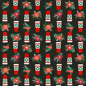 christmas coffees red cups flowers florals cute girls coffee fabric - multi directional