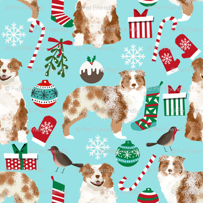 red merle aussie fabric - australian shepherd dog christmas fabric - light aqua