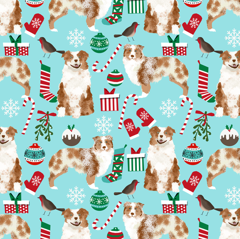 red merle aussie fabric - australian shepherd dog christmas fabric - light aqua fabric by petfriendly on Spoonflower - custom fabric