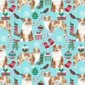 red merle aussie fabric - australian shepherd dog christmas fabric - light aqua