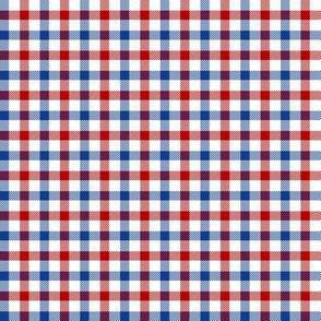 "Red, White and Blue tartan 1/4"" check"