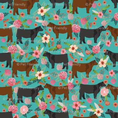 Angus cattle floral design - cattle fabric cow farm floral design